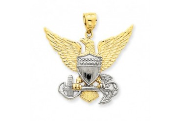 U.S. Navy Eagle Two-Tone Pendant in 14 Karat Gold