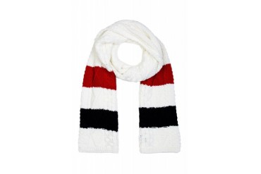 Thom Browne White Rugby Stripe Cableknit Aran Scarf