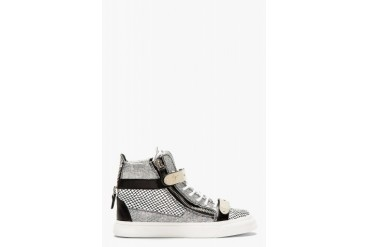 Giuseppe Zanotti Black And White Leather Mesh print High top Sneakers