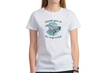 Horses Give Us Wings Horses Women's T-Shirt by CafePress
