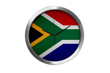 South African Button Flag Modern Wall Clock by CafePress