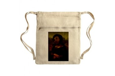 restored Mona Lisa Sack Pack Art Cinch Sack by CafePress