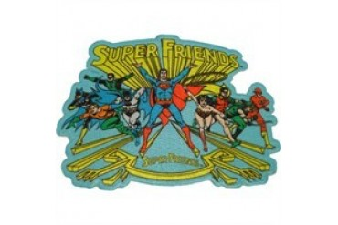 DC Comics Super Friends Group Rush on Blue Patch