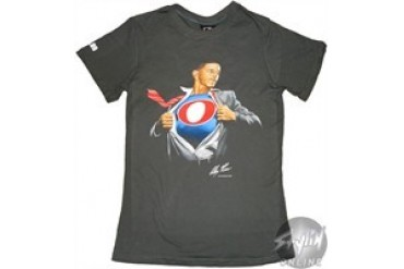 Super President Obama Gray Baby Doll Tee by Alex Ross