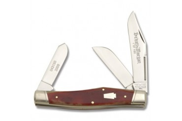 Schatt & Morgan Reverse Gunstock Stockman with Red Brick Smooth Bone Handle