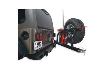 "Body Armor 4x4 TJ Wrangler 59"" Rear Bumper with Spindle in Black Powder Coat TJ-2993 Tire Carriers"
