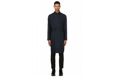 Burberry Prorsum Navy Blue Silk Trench Coat