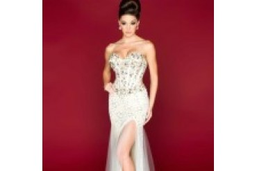 Mac Duggal Black White Red - Style 85304R