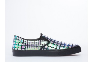 Starstyling Berlin Camou Slip On in Black Silver Reptile size 10.0