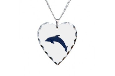 Dolphin Cute Necklace Heart Charm by CafePress