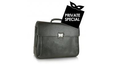 Europa - Black Double Gusset Calf Leather Briefcase