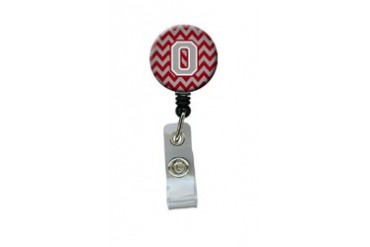 Letter O Chevron Crimson and Grey Retractable Badge Reel