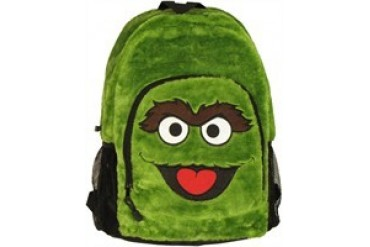 Sesame Street Oscar the Grouch Face Furry Backpack