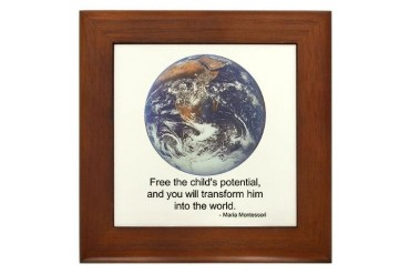 Montessori World - Potential Education Framed Tile by CafePress