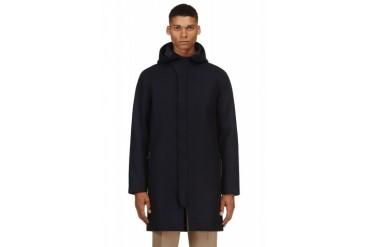 Acne Studios Navy Blue Wool Hooded Milton Coat