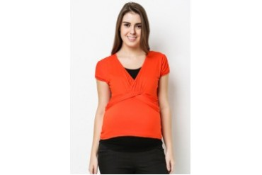 Vneck faux twist top with peek a boo sleeve detail