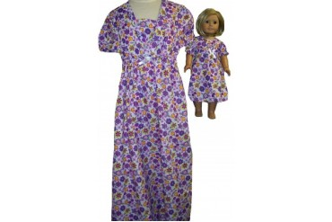 Matching Girl and Dolls Purple Flowers Nightgown Size 8
