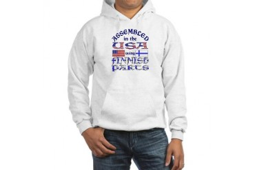 USA / Finnish Parts Funny Hooded Sweatshirt by CafePress