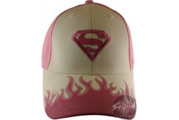 DC Comics Supergirl Flames Logo Pink Embroidered Velcro Closure Hat