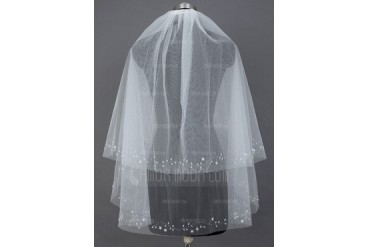 Two-tier Fingertip Bridal Veils With Cut Edge (006034202)