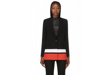 Givenchy Black And Red Striped Long Blazer
