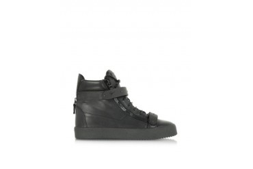 May London Black Leather and Metal High-Top Sneaker