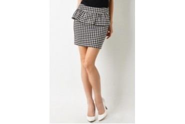 Dear Laura Houndstooth Peplum Mini Skirt