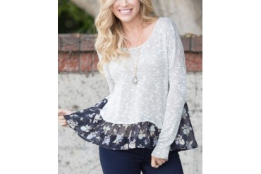 Gray & Navy Blue Floral-Hem Top
