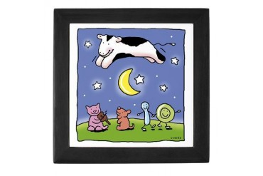 cow jumping over the moon Baby Keepsake Box by CafePress