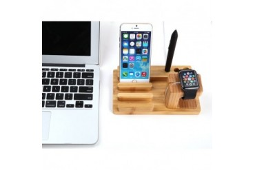 Bamboo Wooden Dock For Apple Watch, iPhone, amp iPad
