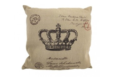 Tan Brown Canvas French Postcard Crown Print Decorative Throw Pillow 16in.