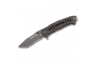 TOPS Ruko Fox CQT-303 Tanto Linerlock with Black G-10 Handle - Serrated