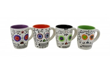 Set of 4 Colorful Day of the Dead Sugar Skull Ceramic Coffee Mugs