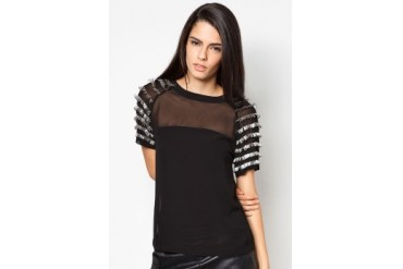 Limkokwing Fashion Club Sheer Blouse With Embellished Sleeves
