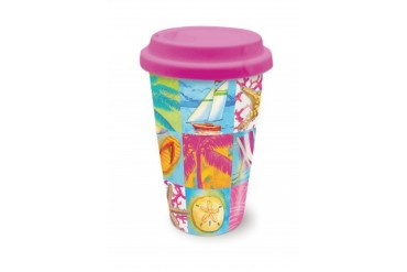 Coastal Icons Beach Patchwork Coffee Latte Tea Ceramic Travel Mug with Lid