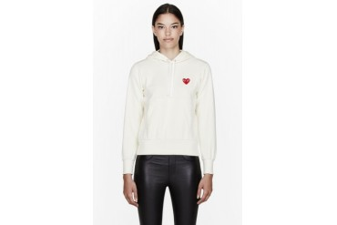Comme Des Garons Play Ivory Red Emblem Hoodie