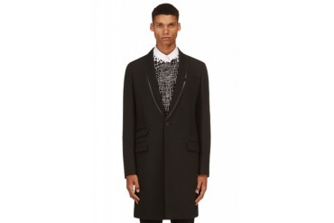 Mcq Alexander Mcqueen Black Leather trimmed Tuxedo Coat