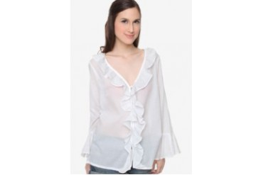WHITE VOILE RUFFLED TUNIC LONG SLEEVE