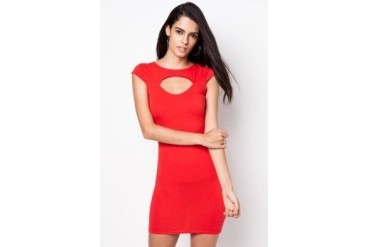 Red Sweetheart Cut Out Bodycon Dress