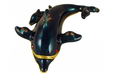 Ocean Marine Dolphin Mom and Baby Jeweled Enameled Trinket Box