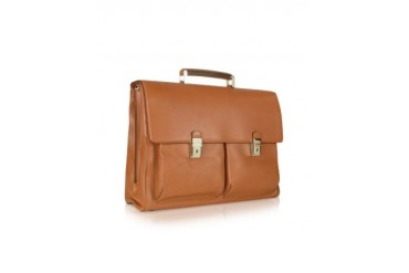 Front Pockets Leather Briefcase w/Laptop Sleeve