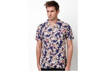 Native Youth HIBISCUS HAWAIIAN PRINT SHIRT