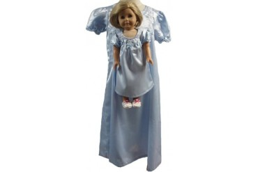 Matching Girls and Doll Blue Satin Nightgown Size 5