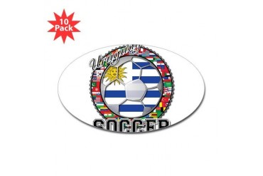 Uruguay Flag World Cup Soccer Ball with World Flag Soccer Sticker Oval 10 pk by CafePress