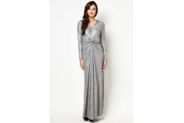 Zalia Metallic Veil Wrap Maxi Dress