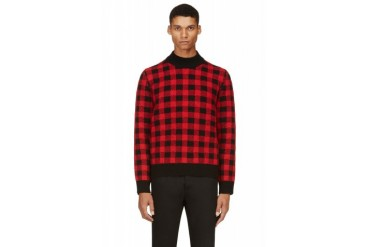 Saint Laurent Black And Red Gingham Check Sweater
