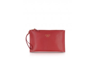 Saffiano Leather Zip Clutch