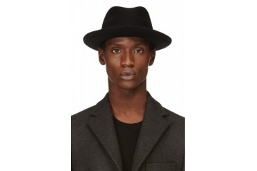 Costume National Black Rabbit Hair And Faux leather Brim Fedora