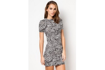 Monochrome Short Sleeve Tribal Print Tunic Dress