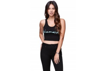 Womens Diamond Supply Co Tees & Tanks - Diamond Supply Co Logo Cropped Fitted Tank